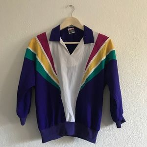 Vintage rainbow striped blouse