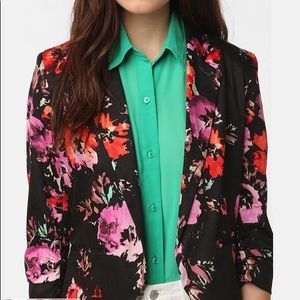 Sparkle & Fade Printed Crop Ruched-Sleeve Blazer