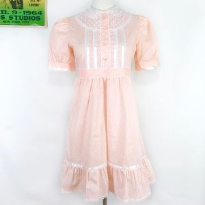 Vintage 70s pastel pink polka dot baby doll dress