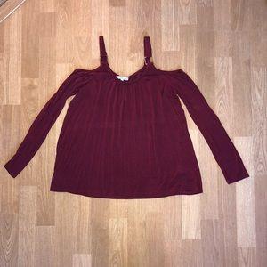 Burgundy Cold Shoulder Long Sleeve Shirt