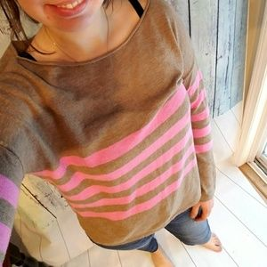 Loft tan and pink boat neck striped tee