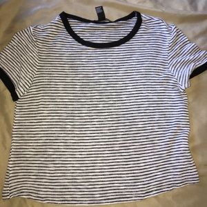 black and white striped body T-shirt