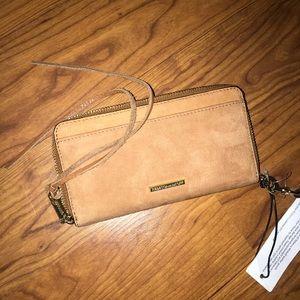 Rebecca minkoff vanity suede phone wallet new