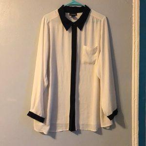 Lane Bryant satin button up blouse.