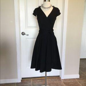 DVF Blk A-Line Wrap Dress Size 6
