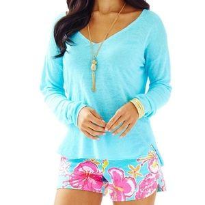 Lilly Pulitzer Taryn Linen V neck pullover sweater