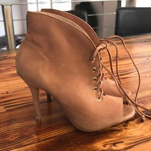 Aldo tan lace up heels
