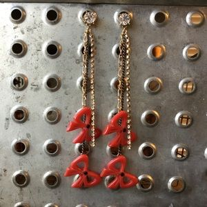 Betsey Johnson Vintage Red Bow Dangling Earrings.