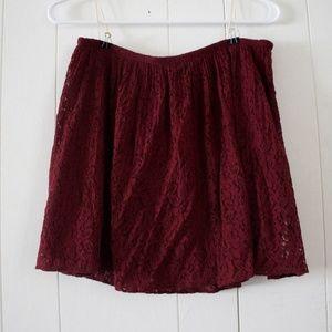 Madewell Dark Burgundy Pleated Lace Skirt