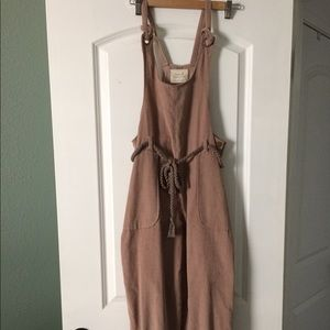 Tan corduroy overalls from Anthropologie S