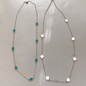 Extra long gold necklace set two turquoise white