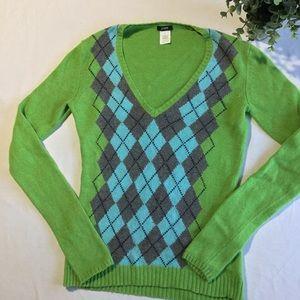 J. Crew merino wool angora blend argyle sweater