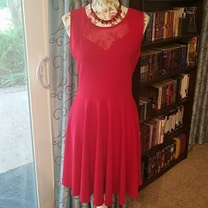 Soprano holiday dress, ruby red, open back, NWT