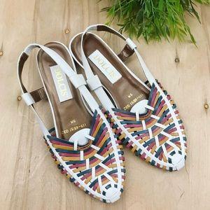 Vintage colorful leather pointed toe slingbacks
