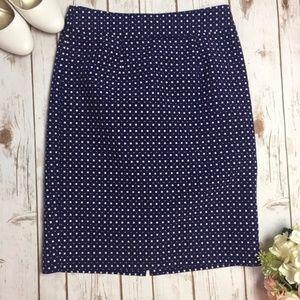 Banana Republic Blue & White Square Pencil Skirt