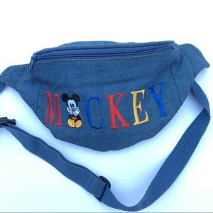 Denim Mickey Mouse fanny pack