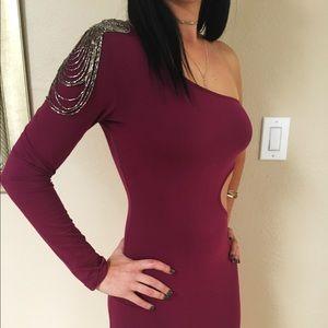 Shoulder Embellishment Mini Dress