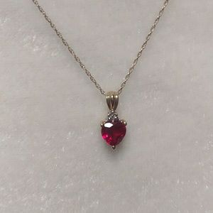 10k Gold Necklace with Ruby Heart Pendant