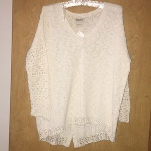 Lucky Brand crochet sweater size L
