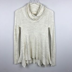 [Anthropologie] Cowl Neck Sweater Top Cozy Ivory S