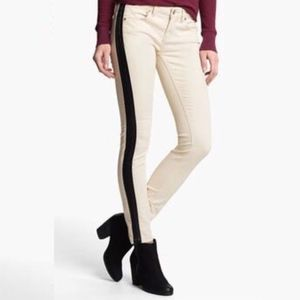 Free People White Jeans with Leather Stripe