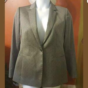 Single Button Gray Blazer w/ Polka Dot
