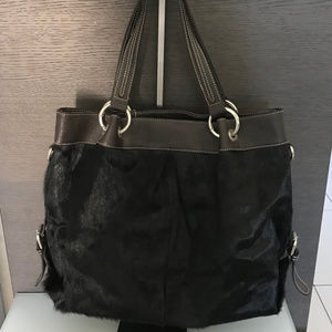 LARGE Haircalf/Leather Brown Tote w/shoulder strap