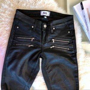Paige Edgemont Coated Skinny Jeans in Black