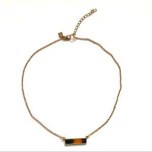 Banana Republic Tortoise Bar Necklace Gold NWT