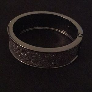 Express Black/Silver Glitter Bangle Bracelet