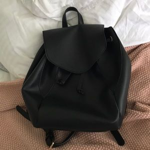 Black Faux Leather Backpack Forever 21