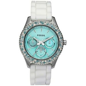 Fossil Stella Aqua Face Teal White Crystal Watch