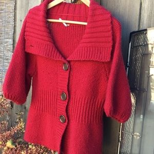 Free People Red 50/50 wool acrylic puffy sleeves