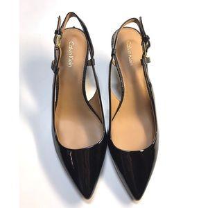 Calvin Klein patent leather Patsi kitten heel