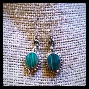 Jewelry - Vintage stealing sliver malachite dangle earrings