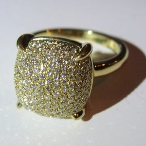 Tiffany & Co 18K Gold Diamond Sugar Stack Ring