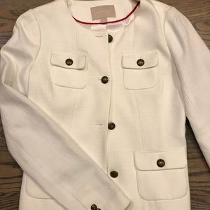 Collarless Military Style Tweed Blazer
