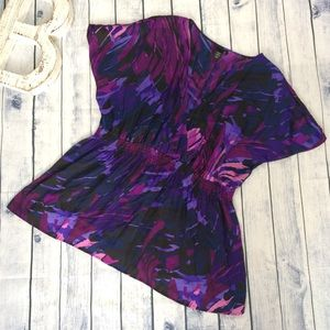 Lane Bryant deep v crisscross purple paint top