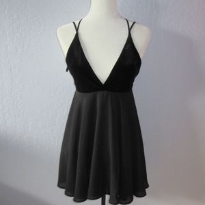 Nasty Gal scrappy babydoll dress velvet top plunge