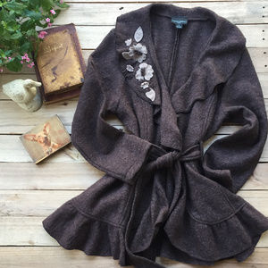 Cynthia Rowley Brown Wool Cardigan (1X)