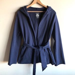 Lucky Brand navy blue hooded wrap cardigan