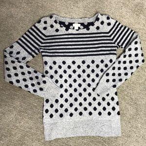 J. Crew Sweaters - J.Crew Navy and Grey Polka Dot Sweater Size XS
