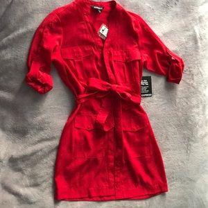 Express Red Short Sleeve Pocket Shirt Dress
