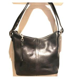 Black leather coach hobo with adjustable strap