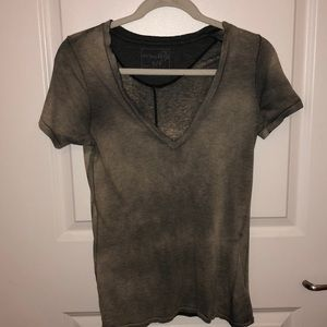 Free People Distressed Grey V-Neck