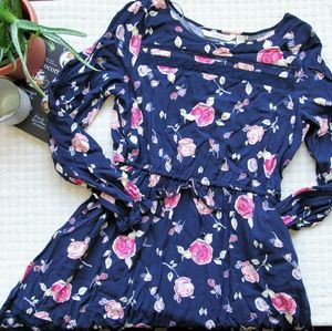 LC Lauren Conrad navy and pink floral lace dress