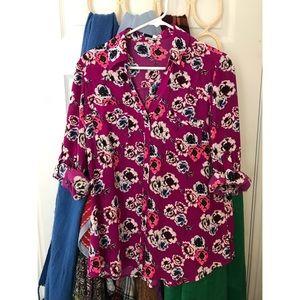 Express original fit button down blouse