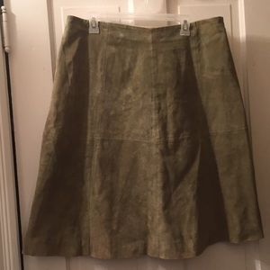 Olive green leather skirt XL