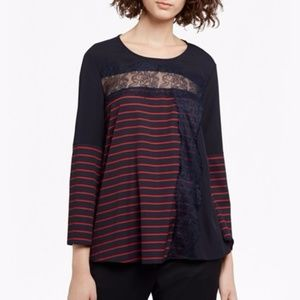 French Connection Light Striped/lace top