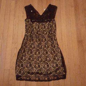 Mesh black and tan dress
